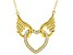 White Cubic Zirconia 18K Yellow Gold Over Sterling Silver Angel Wing Heart Necklace 0.75ctw