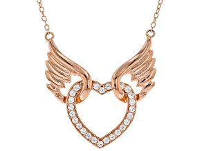 White Cubic Zirconia 18K Rose Gold Over Sterling Silver Angel Wing Heart Necklace 0.75ctw