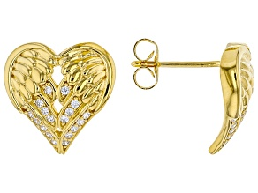 White Cubic Zirconia 18K Yellow Gold Over Sterling Silver Angel Wing Heart Earrings 0.32ctw