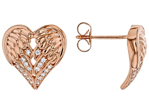 White Cubic Zirconia 18K Rose Gold Over Sterling Silver Angel Wing Heart Earrings 0.32ctw