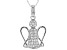 White Cubic Zirconia Rhodium Over Sterling Silver Angel Pendant With Chain 0.50ctw