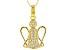 White Cubic Zirconia 18K Yellow Gold Over Sterling Silver Angel Pendant With Chain 0.50ctw
