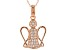 White Cubic Zirconia 18K Rose Gold Over Sterling Silver Angel Pendant With Chain 0.50ctw