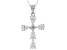 White Cubic Zirconia Rhodium Over Sterling Silver Cross Pendant With Chain 3.18ctw