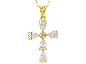 White Cubic Zirconia 18K Yellow Gold Over Sterling Silver Cross Pendant With Chain 3.18ctw