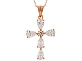 White Cubic Zirconia 18K Rose Gold Over Sterling Silver Cross Pendant With Chain 3.18ctw