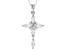 White Cubic Zirconia Rhodium Over Sterling Silver Cross Pendant With Chain 1.80ctw