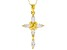 White Cubic Zirconia 18K Yellow Gold Over Sterling Silver Cross Pendant With Chain 1.80ctw