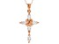 White Cubic Zirconia 18K Rose Gold Over Sterling Silver Cross Pendant With Chain 1.80ctw