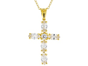 White Cubic Zirconia 18K Yellow Gold Over Sterling Silver Cross Pendant With Chain 1.97ctw