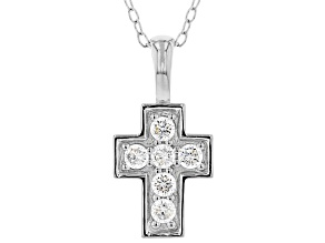White Cubic Zirconia Rhodium Over Sterling Silver Cross Pendant With Chain 0.35ctw