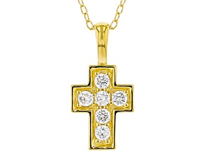 White Cubic Zirconia 18K Yellow Gold Over Sterling Silver Cross Pendant With Chain 0.35ctw