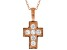 White Cubic Zirconia 18K Rose Gold Over Sterling Silver Cross Pendant With Chain 0.35ctw