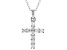 White Cubic Zirconia Rhodium Over Sterling Silver Cross Pendant With Chain 0.58ctw