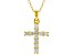 White Cubic Zirconia 18K Yellow Gold Over Sterling Silver Cross Pendant With Chain 0.58ctw