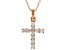 White Cubic Zirconia 18K Rose Gold Over Sterling Silver Cross Pendant With Chain 0.58ctw