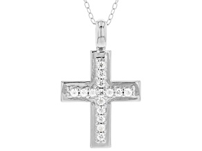 White Cubic Zirconia Rhodium Over Sterling Silver Cross Pendant With Chain 0.40ctw