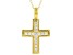 White Cubic Zirconia 18K Yellow Gold Over Sterling Silver Cross Pendant With Chain 0.40ctw