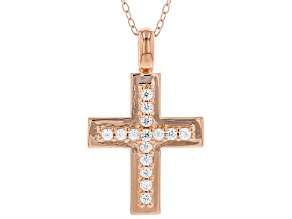 White Cubic Zirconia 18K Rose Gold Over Sterling Silver Cross Pendant With Chain 0.40ctw