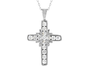 White Cubic Zirconia Rhodium Over Sterling Silver Cross Pendant With Chain 1.23ctw