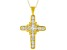 White Cubic Zirconia 18K Yellow Gold Over Sterling Silver Cross Pendant With Chain 1.23ctw