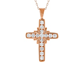 White Cubic Zirconia 18K Rose Gold Over Sterling Silver Cross Pendant With Chain 1.23ctw
