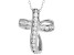 White Cubic Zirconia Rhodium Over Sterling Silver Cross Pendant With Chain 0.72ctw