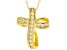 White Cubic Zirconia 18K Yellow Gold Over Sterling Silver Cross Pendant With Chain 0.72ctw
