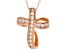 White Cubic Zirconia 18K Rose Gold Over Sterling Silver Cross Pendant With Chain 0.72ctw
