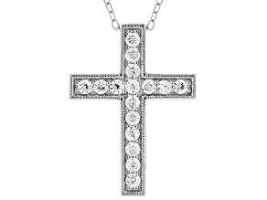 White Cubic Zirconia Rhodium Over Sterling Silver Cross Pendant With Chain 0.66ctw