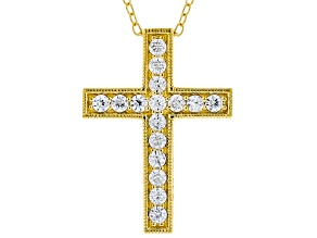 White Cubic Zirconia 18K Yellow Gold Over Sterling Silver Cross Pendant With Chain 0.66ctw