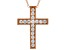 White Cubic Zirconia 18K Rose Gold Over Sterling Silver Cross Pendant With Chain 0.66ctw