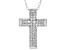 White Cubic Zirconia Rhodium Over Sterling Silver Cross Pendant With Chain 0.64ctw