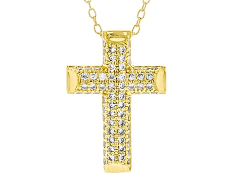 White Cubic Zirconia 18K Yellow Gold Over Sterling Silver Cross Pendant With Chain 0.64ctw