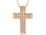 White Cubic Zirconia 18K Rose Gold Over Sterling Silver Cross Pendant With Chain 0.64ctw