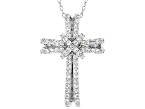 White Cubic Zirconia Rhodium Over Sterling Silver Cross Pendant With Chain 1.01ctw
