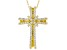 White Cubic Zirconia 18K Yellow Gold Over Sterling Silver Cross Pendant With Chain 1.01ctw