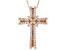 White Cubic Zirconia 18K Rose Gold Over Sterling Silver Cross Pendant With Chain 1.01ctw