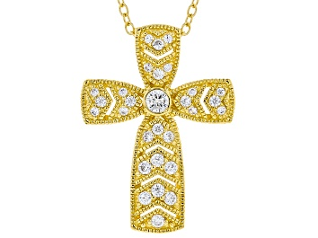 Picture of White Cubic Zirconia 18K Yellow Gold Over Sterling Silver Cross Pendant With Chain 0.52ctw
