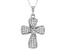 White Cubic Zirconia Rhodium Over Sterling Silver Cross Pendant With Chain 0.65ctw