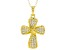 White Cubic Zirconia 18K Yellow Gold Over Sterling Silver Cross Pendant With Chain 0.65ctw