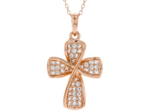 White Cubic Zirconia 18K Rose Gold Over Sterling Silver Cross Pendant With Chain 0.65ctw