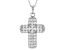 White Cubic Zirconia Rhodium Over Sterling Silver Cross Pendant With Chain 3.58ctw
