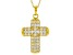 White Cubic Zirconia 18K Yellow Gold Over Sterling Silver Cross Pendant With Chain 3.58ctw