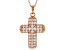 White Cubic Zirconia 18K Rose Gold Over Sterling Silver Cross Pendant With Chain 3.58ctw