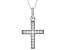White Cubic Zirconia Rhodium Over Sterling Silver Cross Pendant With Chain 0.23ctw