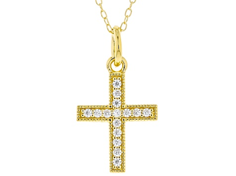 White Cubic Zirconia 18K Yellow Gold Over Sterling Silver Cross Pendant With Chain 0.23ctw