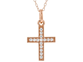 White Cubic Zirconia 18K Rose Gold Over Sterling Silver Cross Pendant With Chain 0.23ctw