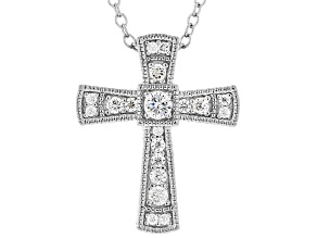 White Cubic Zirconia Rhodium Over Sterling Silver Cross Pendant With Chain 0.38ctw