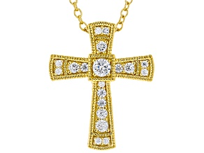 White Cubic Zirconia 18K Yellow Gold Over Sterling Silver Cross Pendant With Chain 0.38ctw